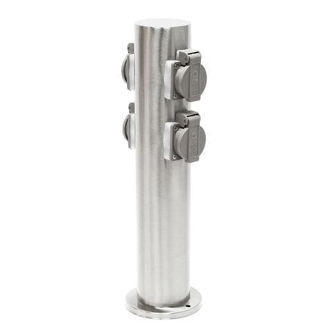 Columna 4 enchufes exterior de acero inoxidable 230V, toma corriente jardín, grado protección IP44