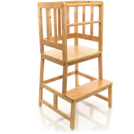 Silla de madera para niños, torre de aprendizaje, trona evolutiva con barra de protección 46x46x89cm
