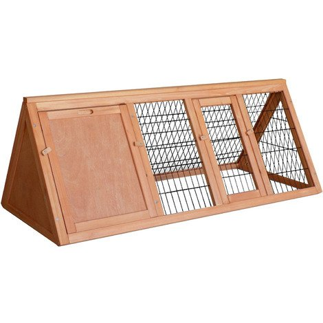 Conejera caseta jaula conejos animales pequeños recinto descubierto corredor madera abeto