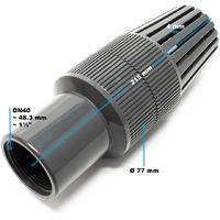 """Válvula retención DN40 rosca hembra 48,3mm 1 1/2"""" para bombas, válvula antirretorno de plástico"""