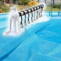 Enrollador para cobertor protector y lámina solar de piscina Ajustable 1-6m Con 8 cintas de fijación