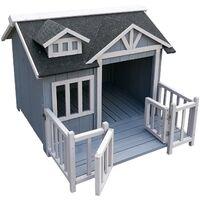 Caseta perros XL gris luxus perrera madera balcón terraza jardín exterior mascotas