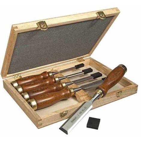 STANLEY Coffret 5 ciseaux à bois manche en bois - 2-16-217