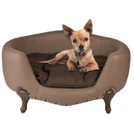 Divano Per Cani Luxury Elegance Ecopelle C Cuscino Marrone Cm 74x56xh36