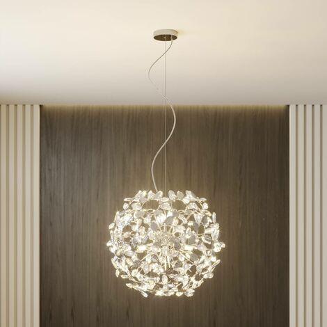 Lámpara colgante Bjarne en look romántico, cromo