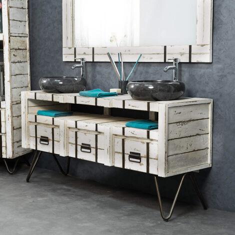 Mueble para lavabo doble LOFT mindi y metal 160 blanco