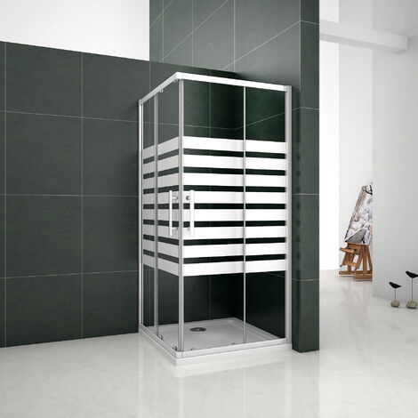 Mampara de ducha Angular 5mm Serigrafiado - 2 Fijas + 2 Correderas,Puertas Correderas 80x80x195cm