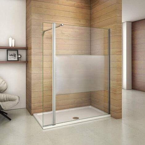 Mamparas de Ducha Panel Fijo 140cm con Lateral Abatible 40cm, Cristal Esmerilado Antical 8mm con Barra ajustable 73cm-120cm