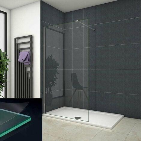 Mamparas ducha Panel Pantalla Fija Vidrio laminado de film seguridad a prueba de explosiciones 8mm - Barra2 90cm,120x200cm