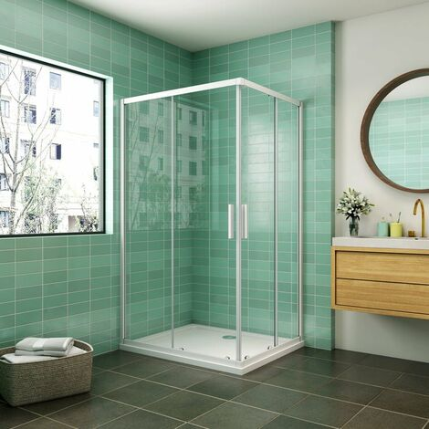 Mampara de Ducha Angular cabina de ducha mampara de ducha cuadrada Puerta Corredera Cristal 5 MM perfilería gris mate 100x100cm