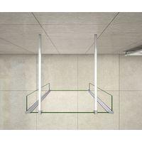 Mamparas de Ducha Panel Fijo 120cm con Doble Panel Lateral Abatible 30cm, Cristal Templado 8mm Antical con 2 Barras 90cm