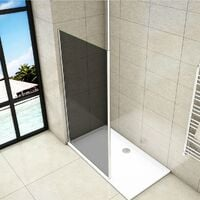 Mampara de ducha Panel Fijo con Barra vertical a Techo, Cristal Templado Gris Antical 8mm, 100x200cm