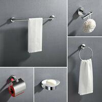 Set de accesorios de baño 5 piezas blanco acero inoxidable toallero anillo de toalla soporte de pappel higienico jabonera gancho de toalla