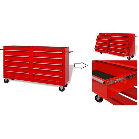 Servante / Caisse à outils d'atelier en acier 10 tiroirs avec serrure.