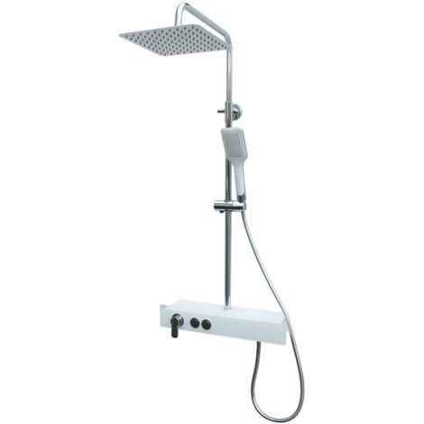 Duscharmatur mit Ablage Duschsystem Regendusche Duschset Weiß