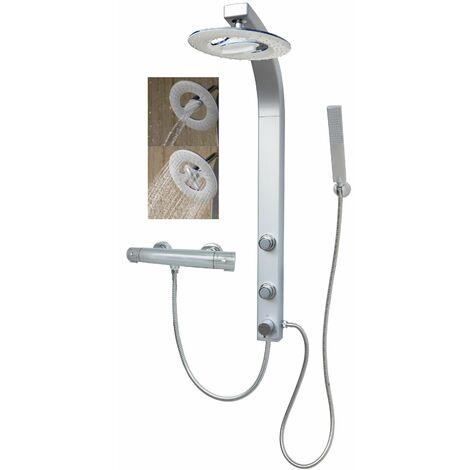 Duschpaneel mit Wasserfall Regendusche Silber Duschsäule Thermostat Duschset Eckmontage mit Massagedüsen