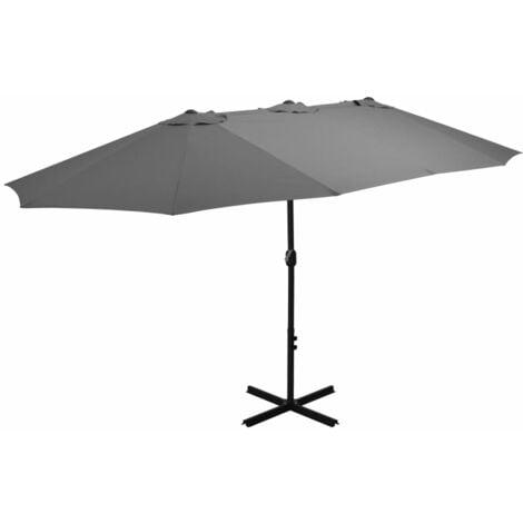Parasol d'Extérieur avec Mât en Aluminium 460 x 270 cm Anthracite
