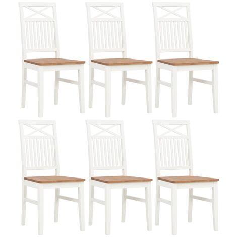 Uco Chaises à dîner 2 pcs Blanc Bois de chêne solide