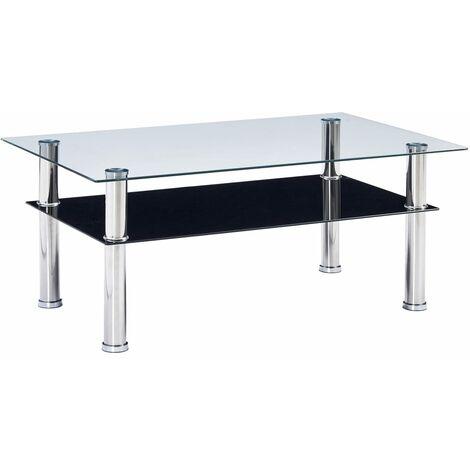 Table Basse 100x60x42 cm Verre Trempé Noir
