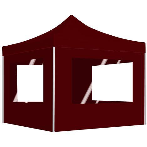 Tente de Réception Pliable avec Parois Aluminium Bordeaux 3x3 m
