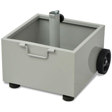 Pot de plantes et support de parasol d'extérieur 2-en-1 Gris