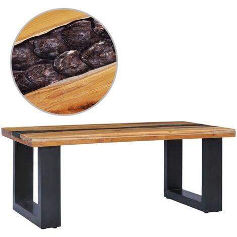 Table Basse Bois de Teck Massif et Polyrésine 100x50x40 cm Modèle 2