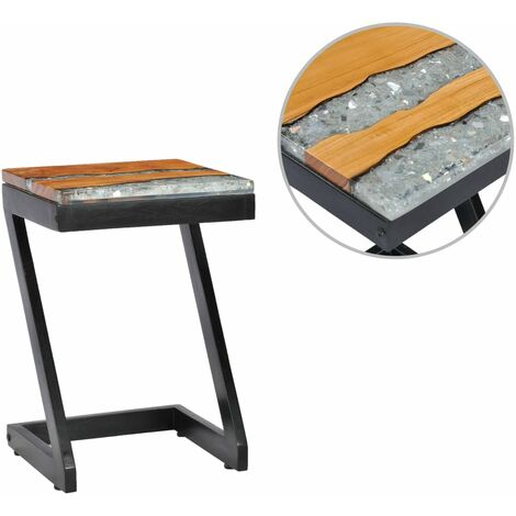 Table basse 30 x 30 x 50 cm Bois de teck massif et polyrésine