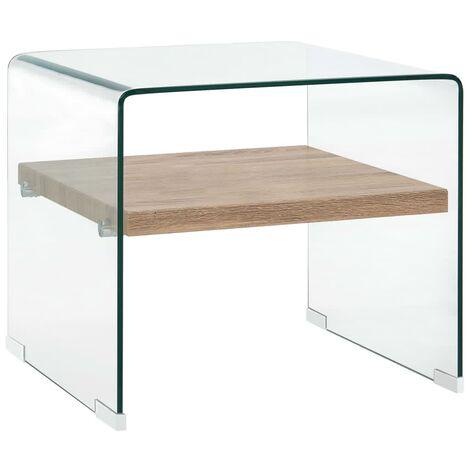 Table Basse Transparent Verre Trempé 50x50x45 cm