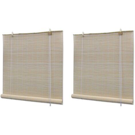 Stores à rouleau Bambou naturel 2 pcs 120 x 160 cm