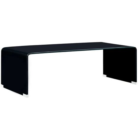 Table Basse 98x45x31 cm Verre Trempé Noir