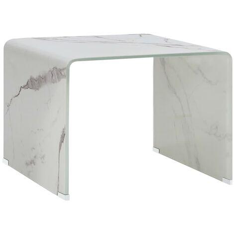 Table Basse Marbre 50x50x45 cm Verre Trempé Blanc