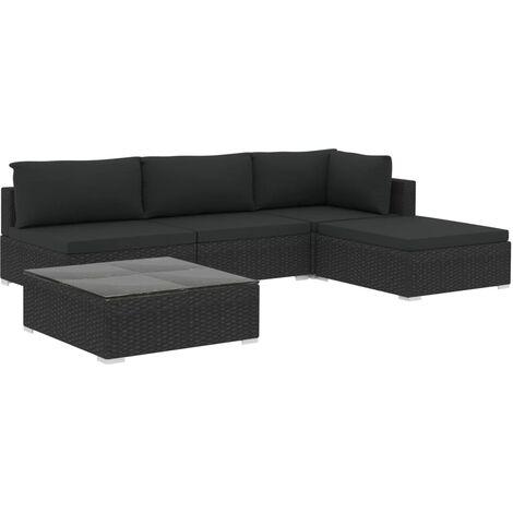 Salon de jardin 5 pcs avec coussins Résine tressée Noir