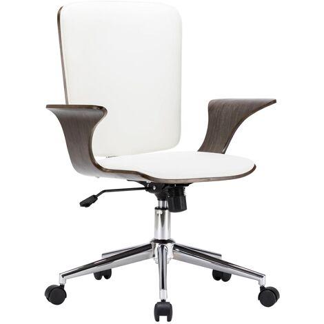 Chaise Pivotante de Bureau Similicuir et Bois Courbé Blanc