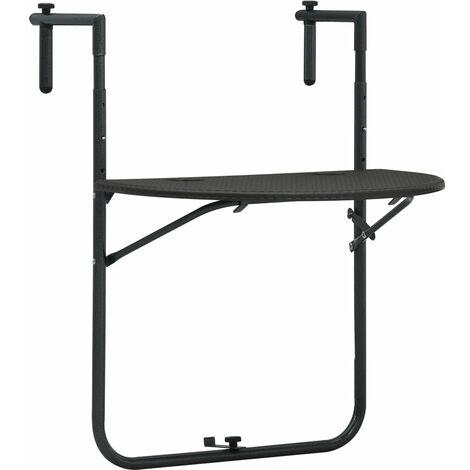 Table de Balcon Plastique Aspect de Rotin 60x64x83,5 cm Marron