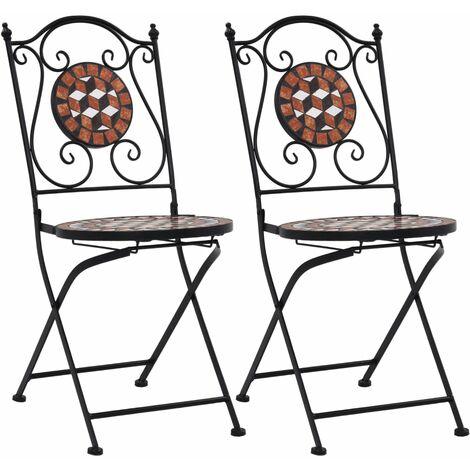 Chaises de Bistrot Céramique Mosaïque 2 pcs Marron