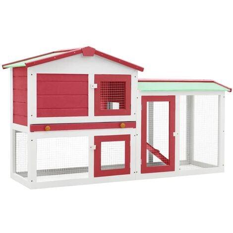 Clapier large d'extérieur Rouge et blanc 145x45x85 cm Bois