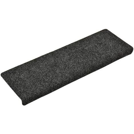 Tapis d'escalier 15 pcs Tissu aiguilleté 65x25 cm Gris