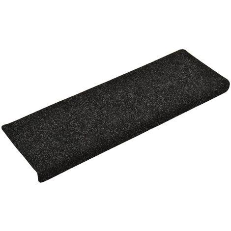 Tapis d'escalier 15 pcs Tissu aiguilleté 65x25 cm Noir
