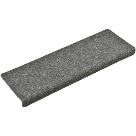 Tapis d'escalier 15 pcs Tissu aiguilleté 65x25 cm Gris clair