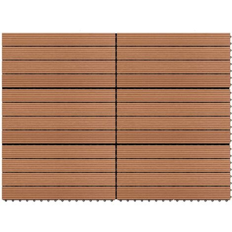 Dalles WPC 60x30 cm 6 pcs 1m² Marron