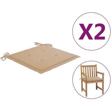 Coussins de chaise de jardin 2 pcs Beige 50x50x4 cm