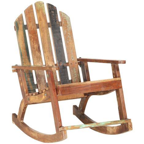 Chaise à Bascule de Jardin Bois de Récupération Solide