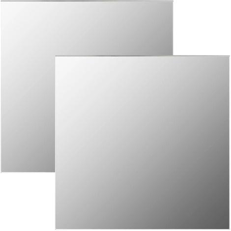 Miroirs muraux 2 pcs 60x60 cm Carré Verre