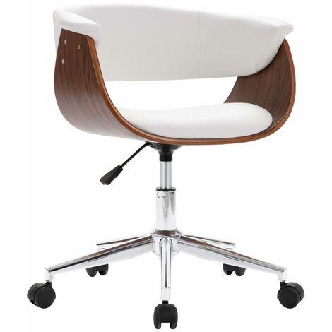 vidaXL Chaise pivotante de bureau Blanc Bois courbé et similicuir