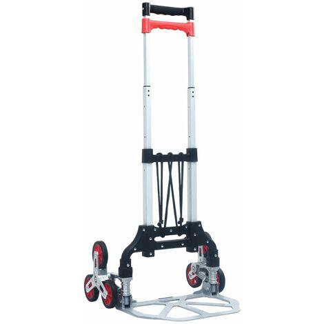 Chariot d'escalier pliable 70 kg Aluminium Argenté