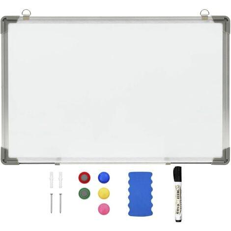 Tableau blanc magnétique effaçable à sec Blanc 60x40 cm Acier