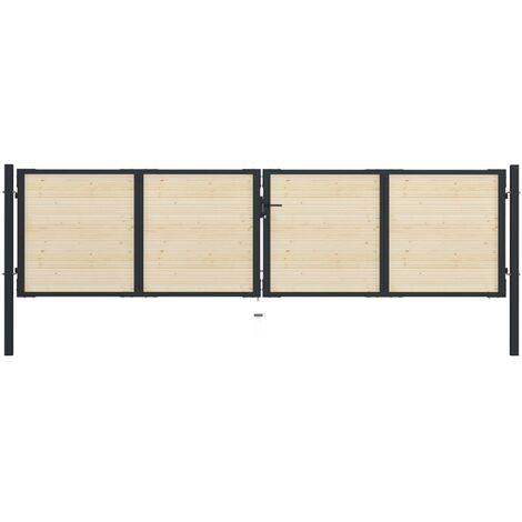Portail de clôture en acier et bois d'épicéa 408x150 cm