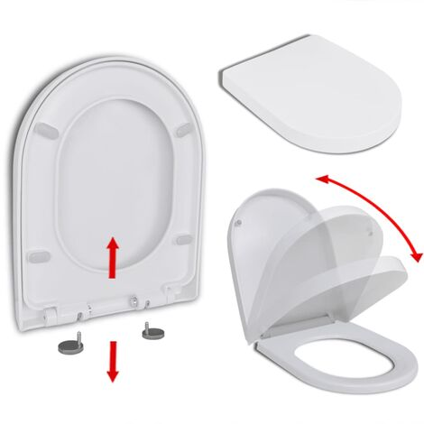 Abattant WC à Fermeture en Douceur Libération Rapide Carré