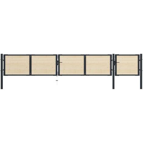 Portail de clôture en acier et bois d'épicéa 513x125 cm