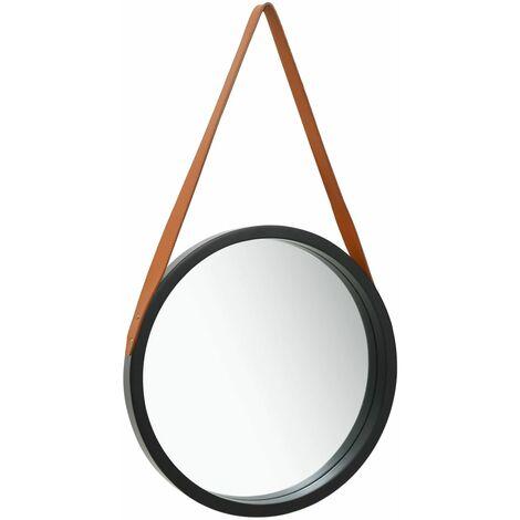 Miroir mural avec sangle 40 cm Noir